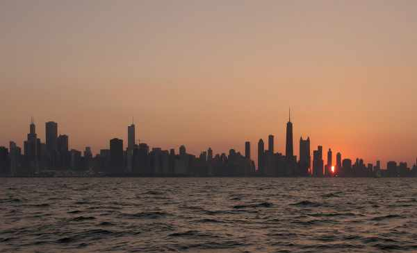 A skyline view of Chicago from the lake